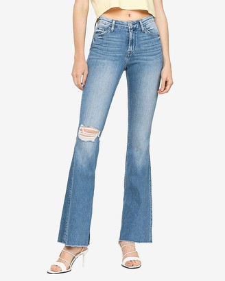 Express Flying Monkey Mid Rise Slit Bell Flare Jeans