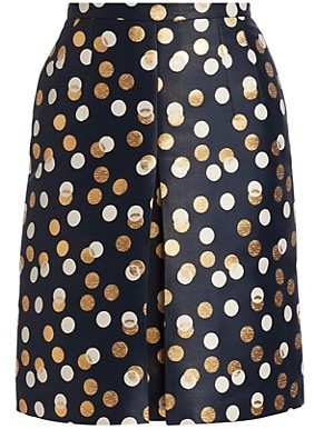 Akris Punto Gold Leaf Dot Front Pleat Skirt