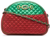 Gucci red and green Trapuntata quilted metallic leather cross body bag