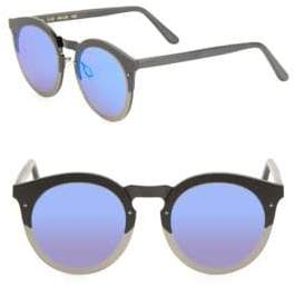 Illesteva Palermo 49MM Matte Round Mirrored Sunglasses