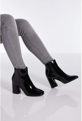 Quiz Black Patent Block Heel Ankle Boot