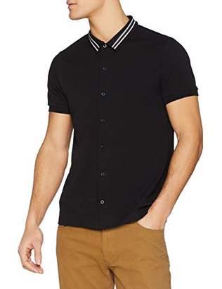 Jacamo Men's Pique S/S Tipped Collar Shirt Regular Fit Plain Casual Shirt,(Manufacturer Size: M)