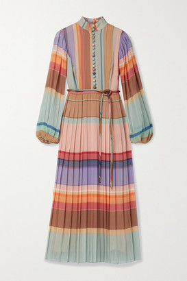 Zimmermann - Belted Pleated Striped Silk Crepe De Chine Midi Dress - Pink