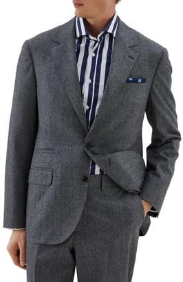 Brunello Cucinelli Flanel Houndstooth Wool Suit Jacket