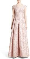 Talbot Runhof Women's Talbut Runhof Poppy Cloque Cap Sleeve Gown
