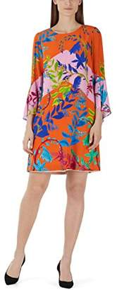 Marc Cain womens Kc 21.15 W67 Knee-Length Loose Fit Long Sleeve Dress, Mehrfarbig (Orange 485), (Manufacturer Size: N2)