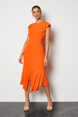Karen Millen Ruffle Trim Midi Dress