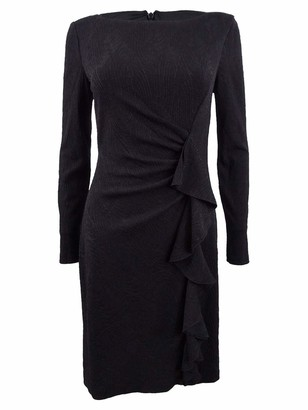 Jessica Howard JessicaHoward Women's Long Sleeve Cocktail Dress with Cascade Detailing