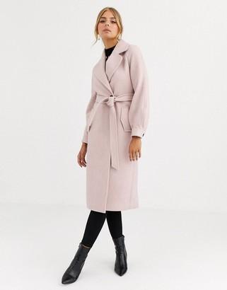 Forever New herring bone puff sleeve coat in apricot-Pink