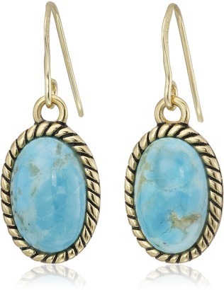 Barse Bronze and Genuine Turquoise Roped Drop Earrings
