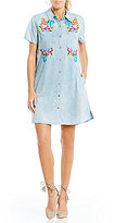Miss Me Floral Embroidered Chambray Shirt Dress