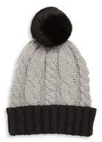 Surell Kid's Rabbit Fur Pom-Pom Cable-Knit Hat