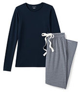 Classic Women's Petite Knit Sleep Set Gray Heather Stripe