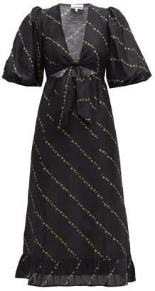 Ganni Tie-front Floral-print Linen-blend Midi Dress - Womens - Black Multi