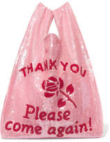 Ashish Sequined Cotton Tote - Baby pink