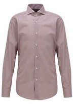 BOSS Geometric-print slim-fit shirt in Italian cotton poplin