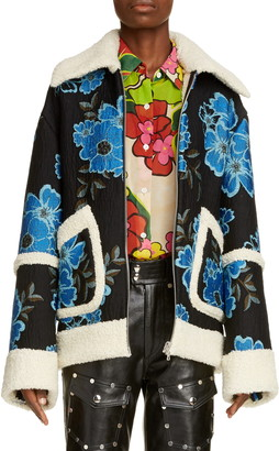 Dries Van Noten Vento Floral Coat with Faux Shearling Trim