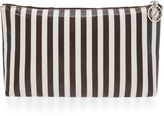 Henri Bendel Brown & White Large T Gusset Cosmetic Bag