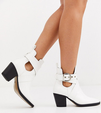 Truffle Collection wide fit heeled western buckle boots