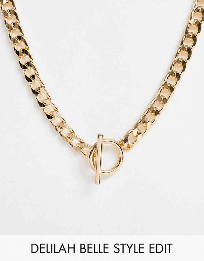 ASOS DESIGN necklace with t bar and curb chain in gold tone
