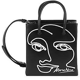 Moschino Women's Face Embroidered Leather Top Handle Bag