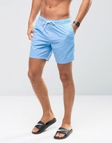 Asos Swim Shorts In Blue With Acid Wash Mid Length