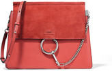 Chloé Faye Medium Leather And Suede Shoulder Bag - Tomato red