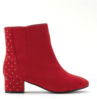 La Redoute Collections Plus Wide Fit Zipped Ankle Boots in Faux Suede with Studs
