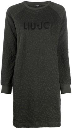 Liu Jo Chevron Leopard Pattern Sweater Dress