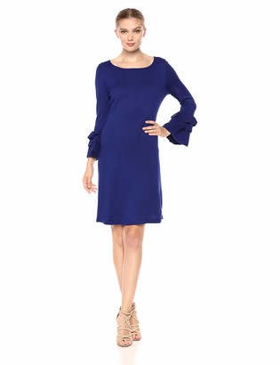 Gabby Skye Women's 3/4 Tier Sleeve Round Neck Sweater A-Line Dress