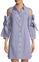 Neiman Marcus Cold-Shoulder Double-Bow Sleeve Shirtdress