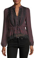 Veronica Beard Lindberg Blouson-Sleeve Printed Silk Blouse w/ Lace