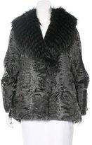 Oscar de la Renta Fox -Trimmed Broadtail Coat