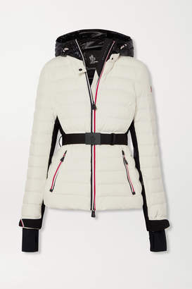 Moncler Bruche Belted Two-tone Quilted Ski Jacket - White