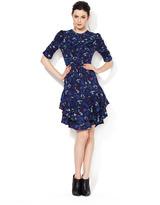 Yigal Azrouel Tiered Skirt Silk Ikat Dress