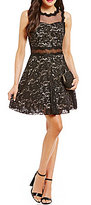 Xtraordinary Two-Tone Sequin Lace Illusion Waist Fit-and-Flare Dress