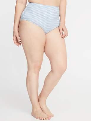 Old Navy High-Waisted Secret-Slim Textured-Stripe Plus-Size Swim Bottoms