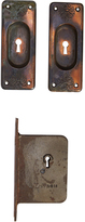 Rejuvenation Japanned Copper Pocket Door Set w/ Mortise Lock