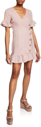 Moon River Button-Front Gingham Wrap Dress