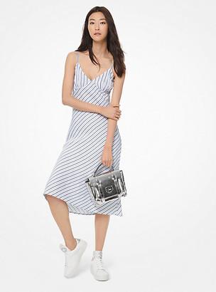 Michael Kors Striped Viscose and Linen Slip Dress