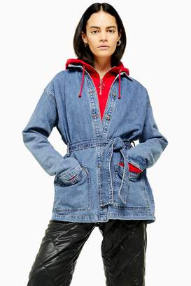 Topshop Womens Blue Denim Belted Shacket - Mid Stone