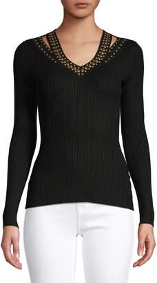 INC International Concepts Petite Embellished V-Neck Sweater