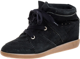 Isabel Marant Black Suede Bobby Lace Up Wedge Sneakers Size 40