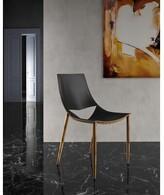 Modloft Leather Upholstered Side Chair Black Upholstery Color: Black / Teak