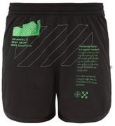 Off-White Off White Logo-print Mesh Shorts - Mens - Black Green