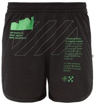Off-White Logo-print Mesh Shorts - Mens - Black Green