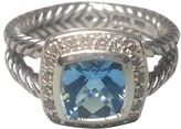 David Yurman Petite Albion Sterling Silver Blue Topaz & Diamonds Ring Size 7