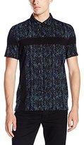 Calvin Klein Men's Slim Fit Printed Dot Short Sleeve Polo Shirt