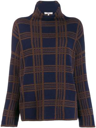 Vince plaid funnel neck sweater