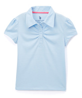 U.S. Polo Assn. Blue Ruched Cap-Sleeve Polo - Girls